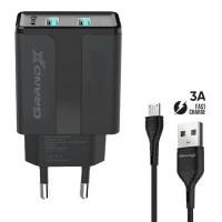 Зарядний пристрій Grand-X CH-15UMB (5V/2,1A + DC cable 2,4А USB -> Micro USB 1m) Black (CH-15UMB)