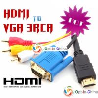 Кабель-переходник GRESSO HDMI to VGA + 3 RCA (тюльпаны) 2 м