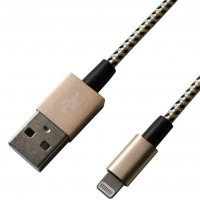 Дата кабель USB 2.0 AM to Lightning 1.0m MFI, YellowBlack/Gold Grand-X (FL01YBG)
