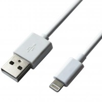 Дата кабель USB 2.0 AM to Lightning 1.0m Cu, 2.1А, White Grand-X, PL01WS