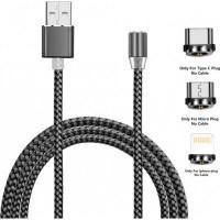 Дата кабель USB 2.0 AM to Lightning + Micro 5P + Type-C 1.2m Magneto gre XoKo (SC-350MGNT-GR)