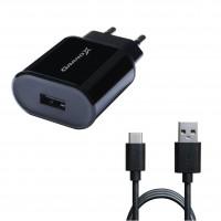 Зарядний пристрій Grand-X (1xUSB 2.1A) Black (CH-15T) + кабель USB Type C