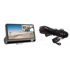 Автомобильный видеорегистратор Tiglon DVR-347 ( Два объектива (+ салонная камера), Камера заднего вида (опционально), Разрешение 1920*1080/30fps,1280*720/30fps, Широкоугольный объектив 170°, 4-дюймовый ЖК экран, Чипсет: Jieli5201A+GC1024+OV7670, 3 пользов